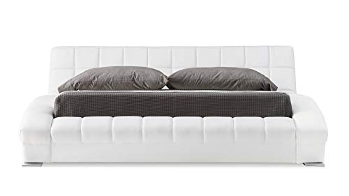 Adonis White Tufted Leather Platform Bed