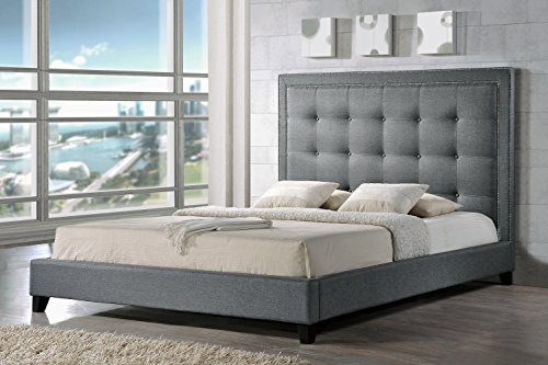 Baxton Studio Hirst Platform Bed, King, Grey