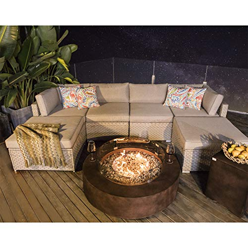 8-Piece Propane Firepit Table Outdoor Furniture Sofa