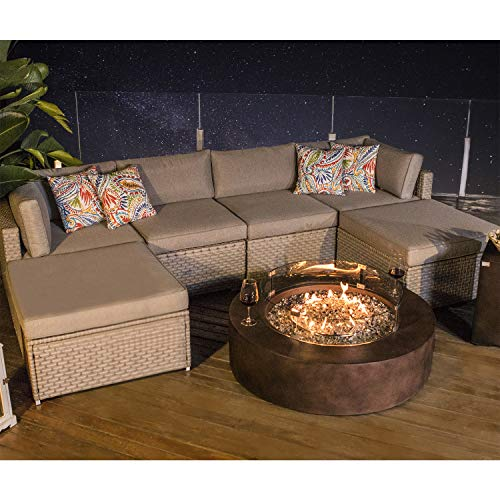 COSIEST 8-Piece Propane Firepit Table Outdoor Furniture Sofa