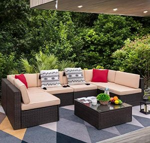 Devoko 7 Pieces Outdoor Sectional Sofa Set