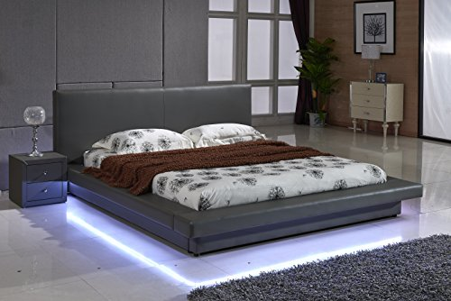 Contemporary Leather Platform Bed with LED Lights