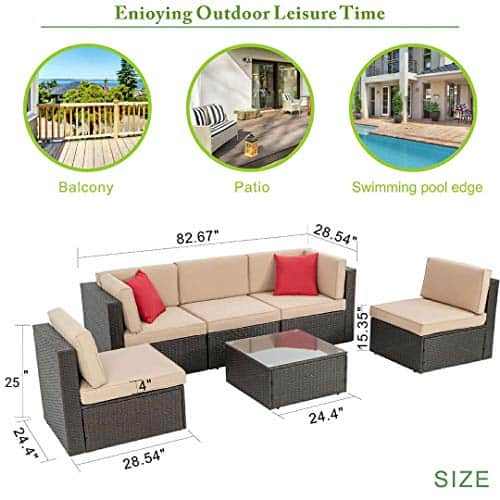 Vongrasig 6 Piec Wicker Patio Furniture Set