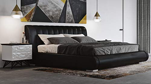 Genuine Leather Contemporary Platform Queen Bed