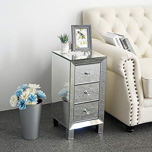 Bonnlo 3-Drawer Mirrored Nightstand