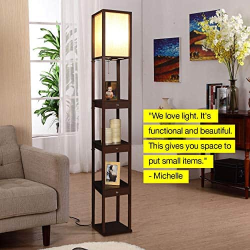 Shelf & LED Floor Lamp Combination