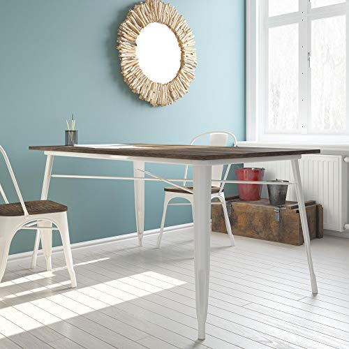 Metal Rectangular Dining Table with Wood Table Top