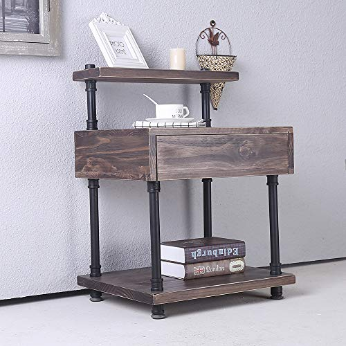 Industrial Pipe Night Stand with Drawer