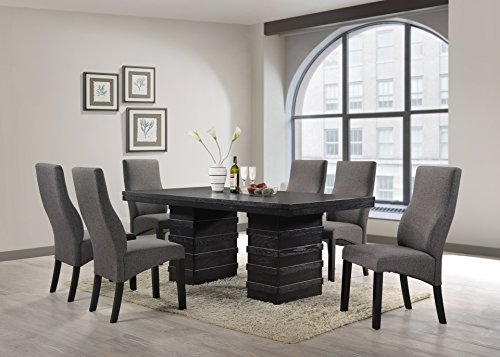 Cappuccino Wood Wave Design Dining Room Table