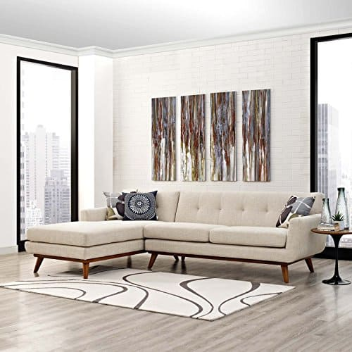 Modern Upholstered Fabric Left-Facing Sectional Sofa