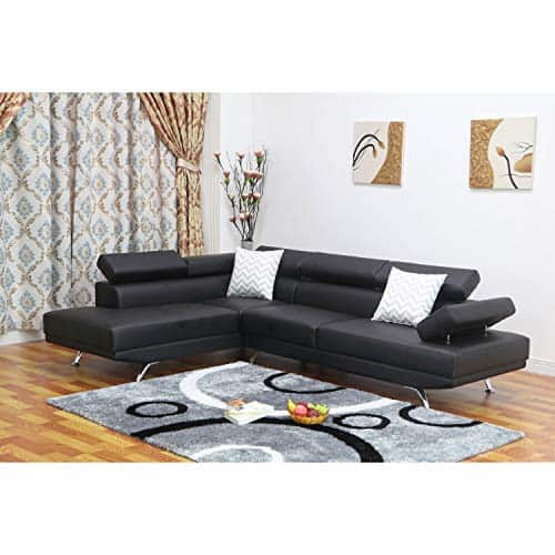 Modern Faux Leather Left-Facing Chaise Sectional Sofa