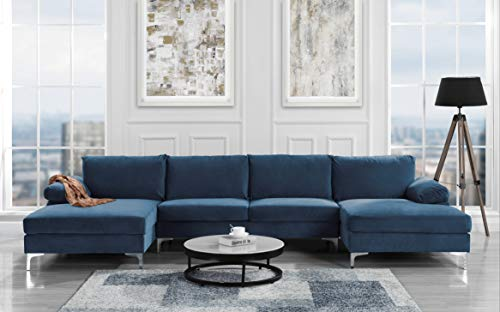 Modern Large Velvet Fabric U-Shape Sectional Sofa