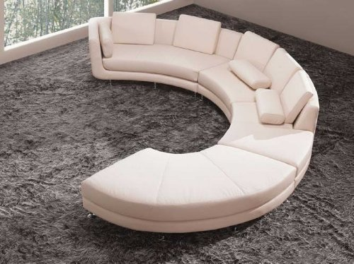 White Leather Sectional Sofa Set