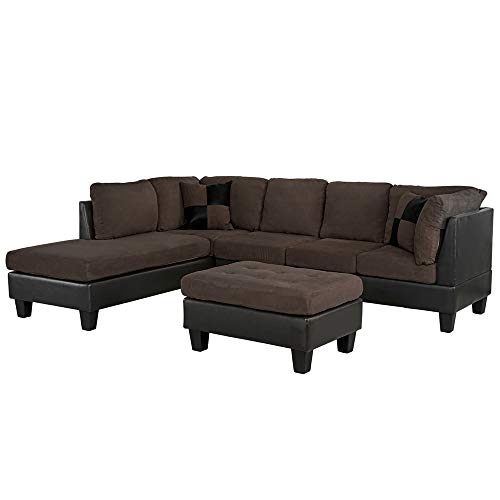 Casa Andrea Modern Brown Microfiber and Faux Leather Sofa and Ottoman Set