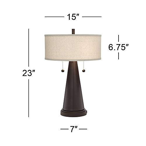 Modern Accent Bronze Metal Table Lamps Set of 2 with USB Port