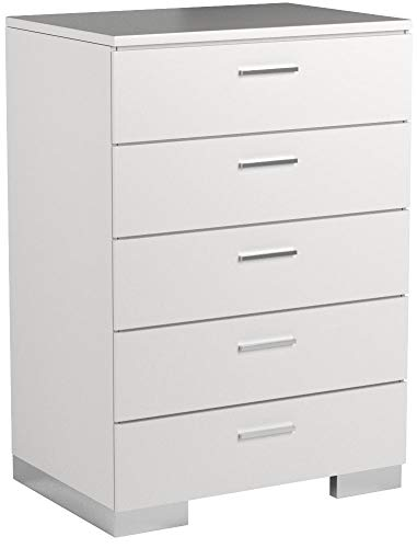 Felicity 5-Drawer Glossy White Chest