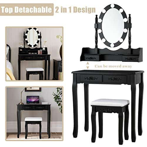 Vanity Table Set with 10 LED Lights