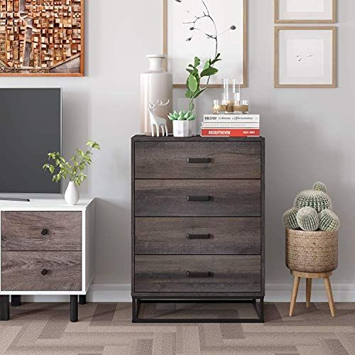 Industrial Tall Dresser Chest with 4 Drawers