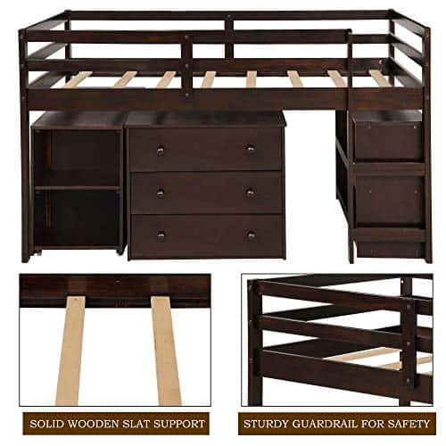 Twin Loft Bed with Cabinet and Portable Desk