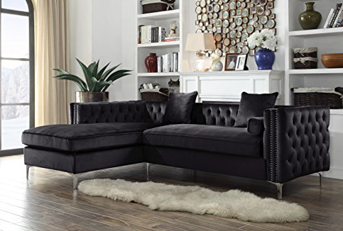 Da Vinci Left Hand Facing Velvet Sectional Sofa