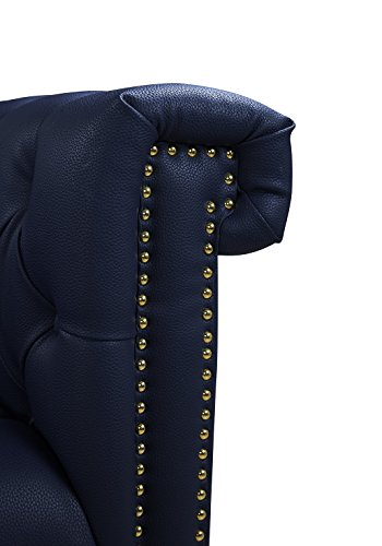 Navy Blue Winston Button Tufted with Nail head Trim