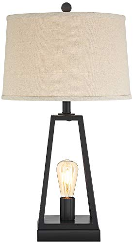 Kacey Industrial Farmhouse Table Lamps Set of 2 with USB Charging Port
