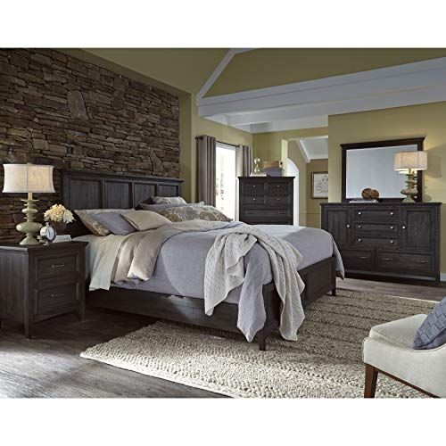 Panel Bed in Weathered Charcoal