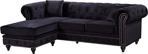 Black 2 Piece Reversible Button Tufted Velvet Sectional