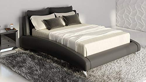 Modern Contemporary Black Italian Leather Platform Bed