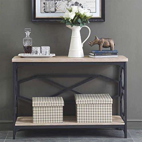 Narrow Sofa Table with Storage Shelf