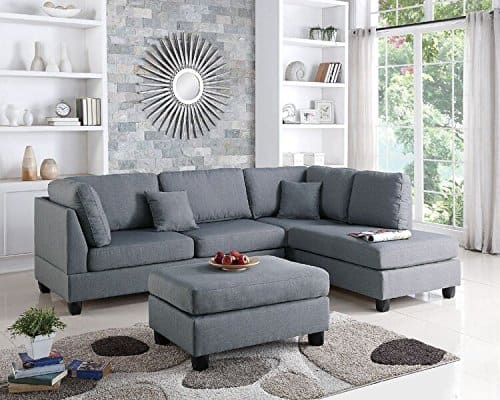 Poundex Upholstered Sectional Sofa