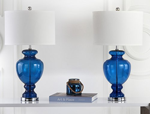 Safavieh Lighting Collection Set of 2 Navy Glass Table Lamps