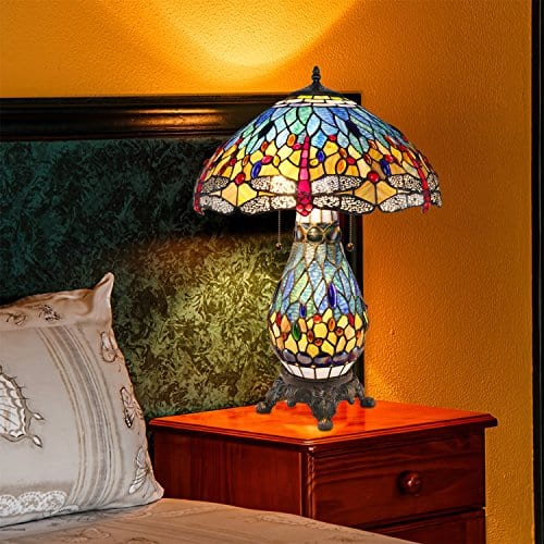 Serena D'Italia Tiffany Style Blue and Red Glass Dragonfly Table Lamp