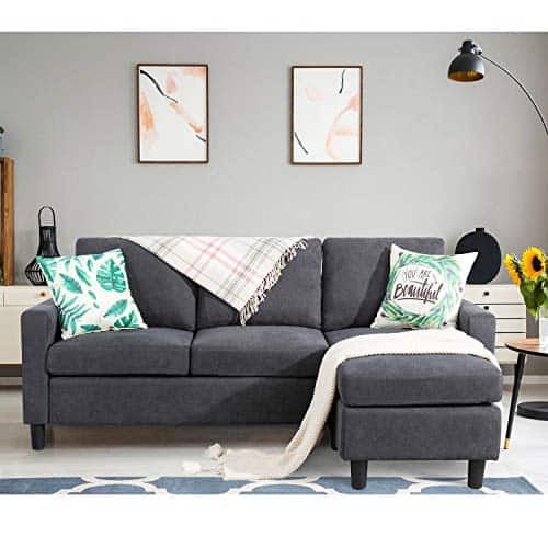 Shintenchi Dark Grey Convertible Sectional Sofa