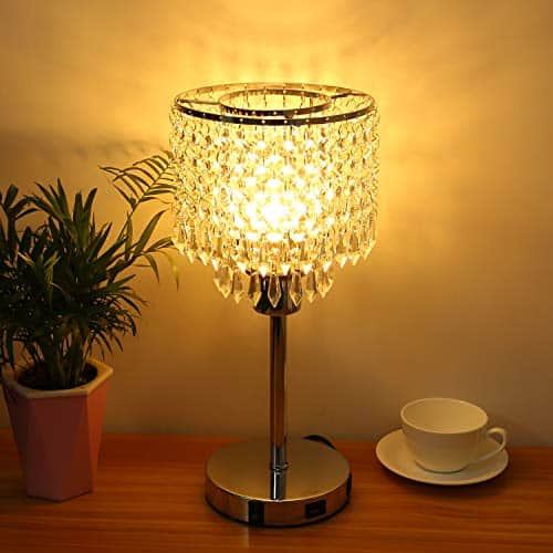 Silver Crystal Bedside Table Lamp with Dual USB Charging Port