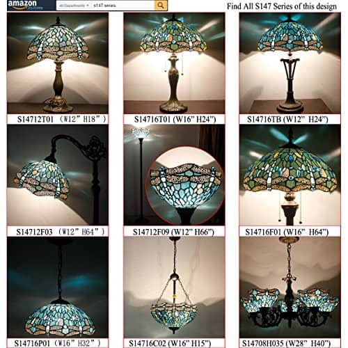 Tiffany 18 Inch Tall Sea Blue Stained Glass Lamp