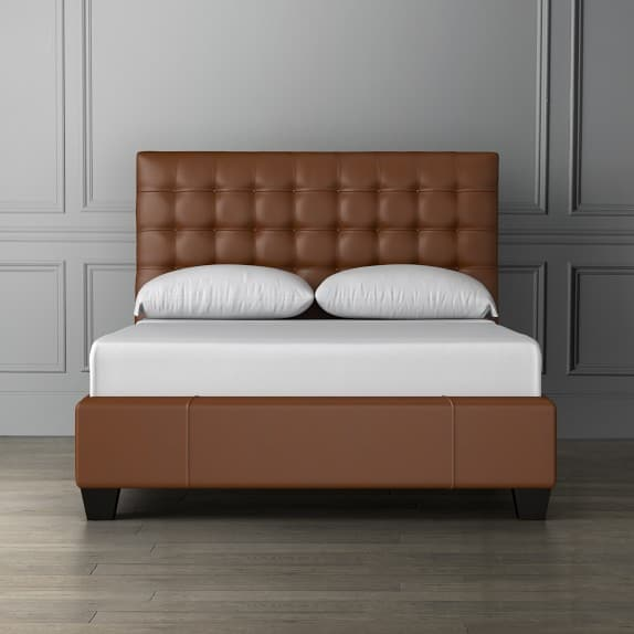 Leather Bed with Leather headboard