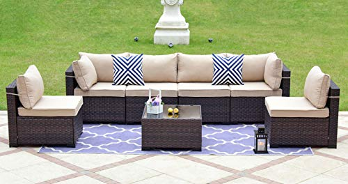 7 Pieces Sectional Rattan Outdoor Patio Furniture Set