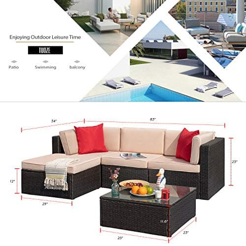 5 Pieces Outdoor All-Weather Rattan Patio Furniture Sectional Set