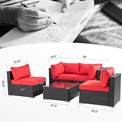 Walsunny 5pcs Red Patio Outdoor Furniture Sets