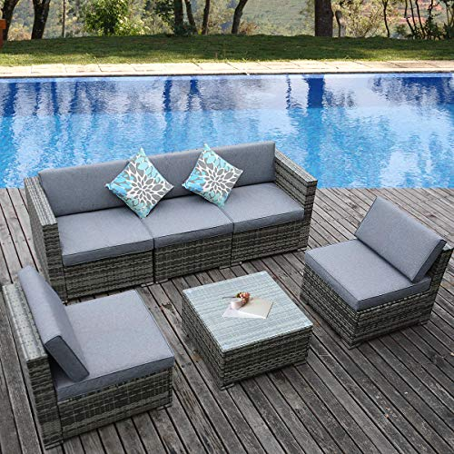 6 Piece Wicker Outdoor Patio Furniture Set