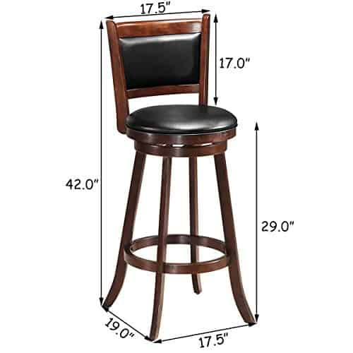 "Wooden 360"" Swivel Back 29"" Bar Stools"