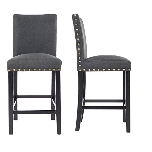 GOTMINSI Set of 2 Counter Height Upholstered Bar Stools