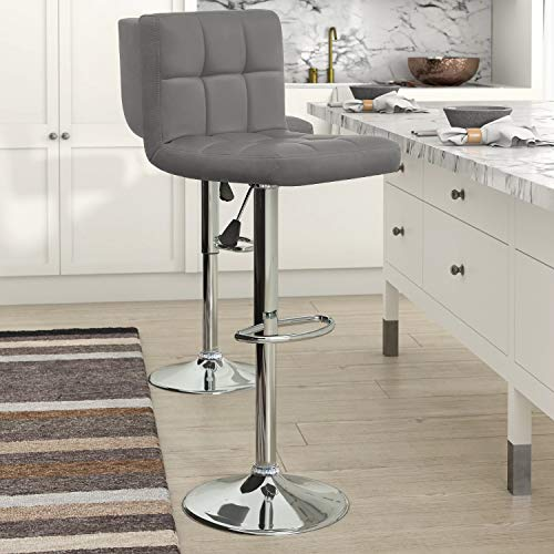 KaiMeng Set of 2 Modern Gray Leather Swivel Adjustable Stool with Back