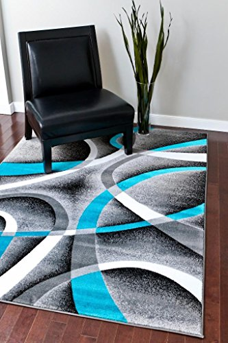 Persian Turquoise Modern Abstract Area Rug