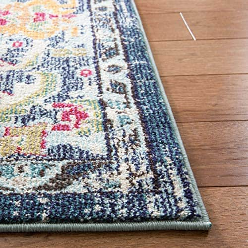 Bohemian Chic Medallion Distressed Area Rug Navy