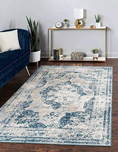 Unique Loom Sofia Traditional Area Rug Light Blue