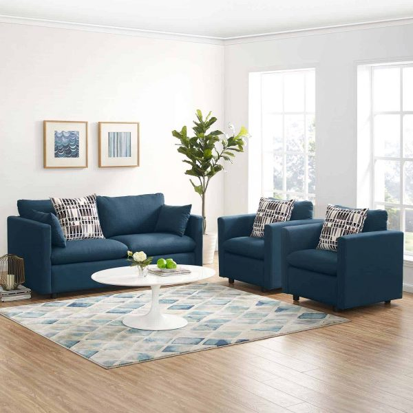 Activate 3 Piece Upholstered Fabric Set in Azure