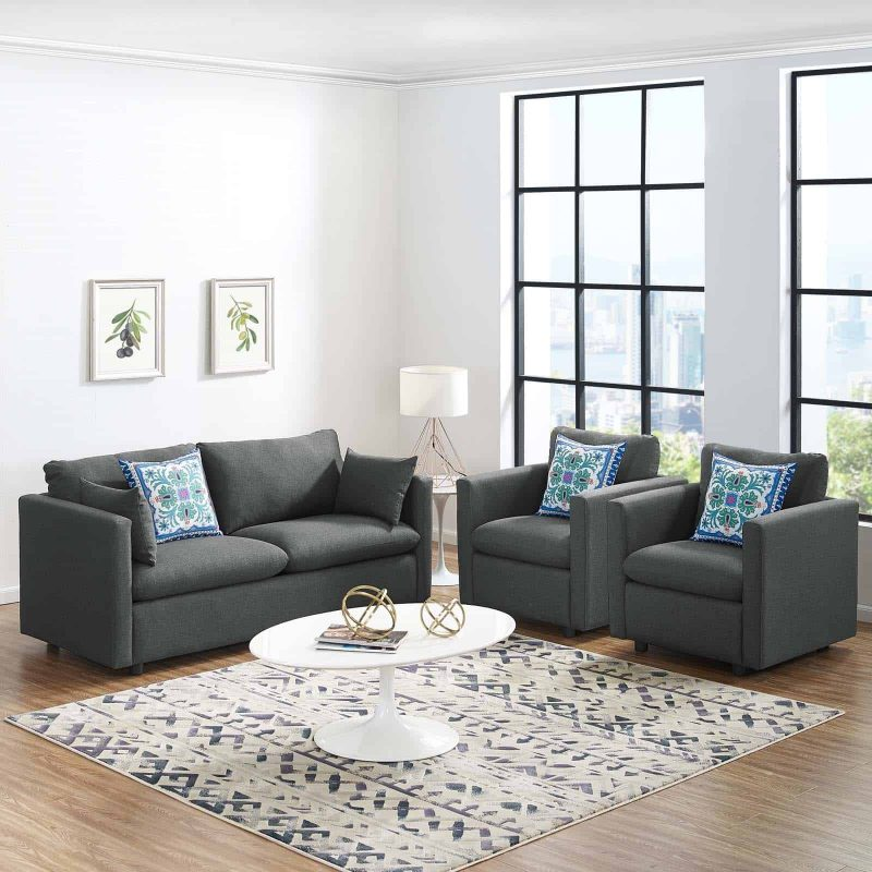 Activate 3 Piece Upholstered Fabric Set in Gray