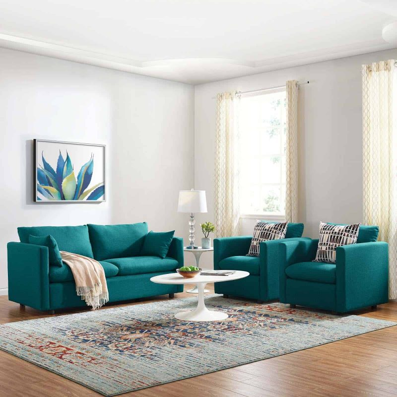 Activate 3 Piece Upholstered Fabric Set in Teal